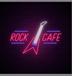 rock cafe neon sign light night signboard vector image