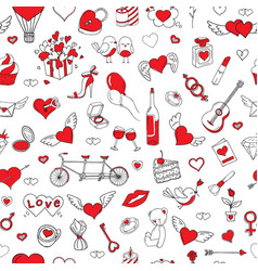 Romantic seamless pattern valentines day vector