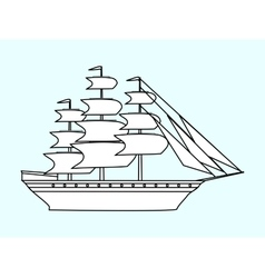 Sailing white ship frigate retro transport sea vector image