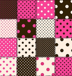 Seamless pattern of polka dot patchworks vector