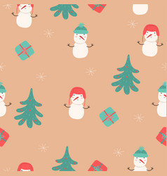 seamless pattern with snowmen christmas trees vector image