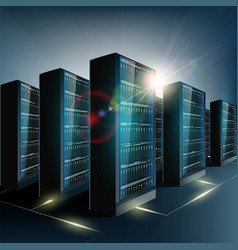 server room in datacenter network and vector image