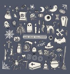 set halloween doodle hand draw sketch vector image