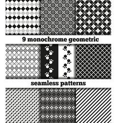 Set of black-white monochrome geometric seamless p vector image