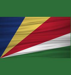 Seychelles flag flag of seychelles blowig in the vector