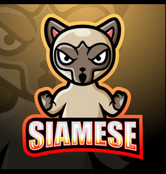 siamese mascot esport logo design vector image
