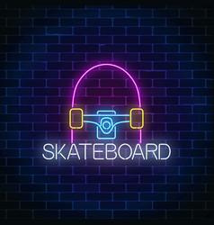 skateboard glowing neon sign skating zone symbol vector image