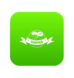 Sleeping bedroom icon green vector