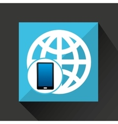smartphone global social network media icon vector image