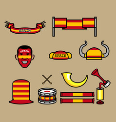 spain soccer supporter gear set vector image