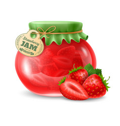 Strawberry jam in the glass jar vector