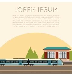 Suburban train station vector image