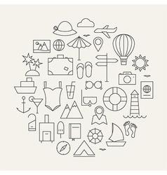 summer holiday line travel icons set circular vector image