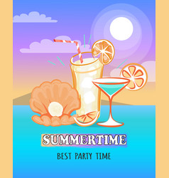 Summertime poster depicting sea and beverage vector