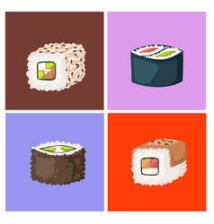 sushi japanese cuisine traditional food flat vector image