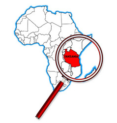 Tanzania under a magnifying glass vector