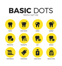 teeth flat icons set vector image