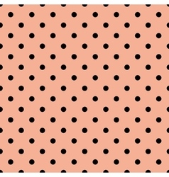 Tile pattern with black polka dots on pink vector image