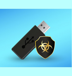 usb flashdrive with a protection shield antivirus vector image