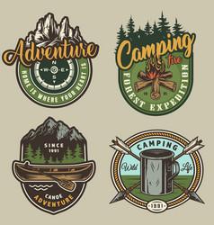 Vintage summer outdoor recreation colorful prints vector