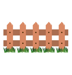 White background with wooden fence and meadow vector