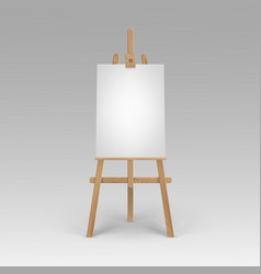 Wooden brown sienna easel with mock up vector