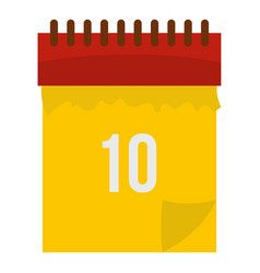 yellow calendar with 10 date icon isolated vector image