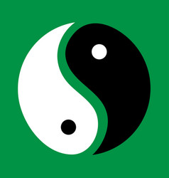 Yin and yang on a green background vector