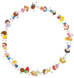 border template with happy kids in circle vector image vector image