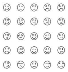 Circle face line icons on white background vector