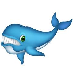 cute blue whale cartoon vector image vector image