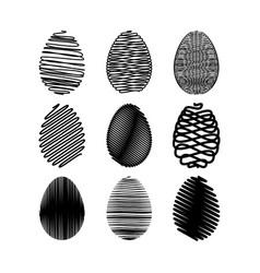 easter egg set black scribble effect on vector image vector image