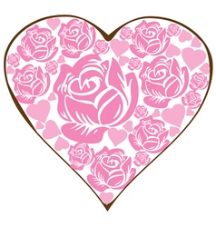 floral heart pink vector image vector image