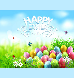 background easter eggs in green grass vector image