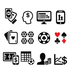 Gambling online betting casino icons set vector image