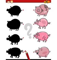 shadows task with pig vector image