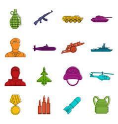 war icons doodle set vector image