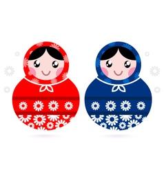 Cute Russian Matreshka dolls - red and blue vector image