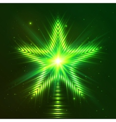 Green shining five-pointed star vector image vector image