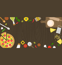 making pizza poster with fresh ingredients vector image