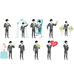 young asian groom set vector image vector image