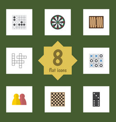 flat icon games set of guess chess table dice vector image vector image