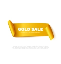 Gold curved paper ribbon banner with rolls and vector image vector image