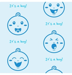 Its a boy blue seamless background with baby boys vector image vector image