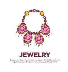 jewelry golden handmade gem necklace flat vector image