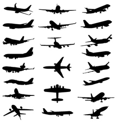 Silhouettes of aircrafts vector