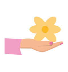 women day hand holding yellow flower vector image