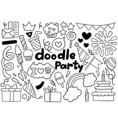 0044 hand drawn party doodle happy birthday vector