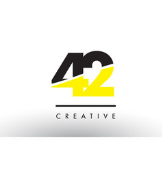 42 black and yellow number logo design vector