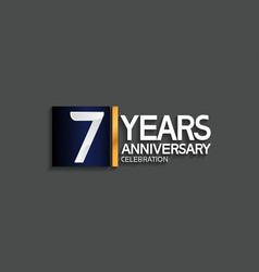 7 years anniversary logotype with blue and silver vector